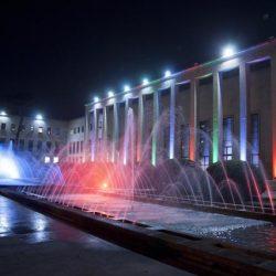 Esterno della struttura del Salone delle Fontane all'Eur dove si tiene la cena di finanziamento del Pd, presente il presidente del Consiglio Matteo Renzi, Roma, 7 novembre 2014. ANSA / PAOLO GARGINI